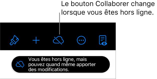 Les boutons en haut de l'écran, avec le bouton Collaborer changé en un nuage traversé par une ligne diagonale. Une alerte à l'écran indique «Vous êtes hors ligne, mais pouvez quand même apporter des modifications».