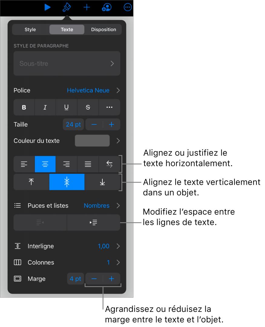 La sous-fenêtre Disposition avec les légendes des boutons d'alignement et d'espacement de texte.