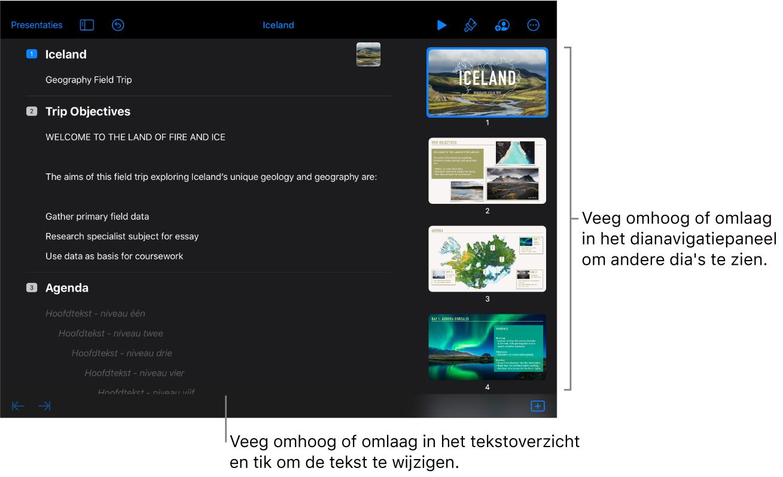De overzichtsweergave met het tekstoverzicht van een presentatie aan de linkerkant van het scherm en het verticale dianavigatiepaneel aan de rechterkant.