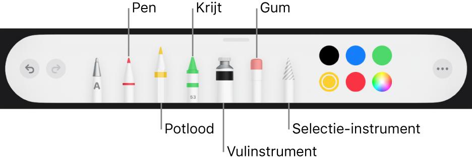 De knoppenbalk voor tekenen met een pen, potlood, krijt, vulinstrument, gum en selectie-instrument en een kleurenvak met de huidige kleur.