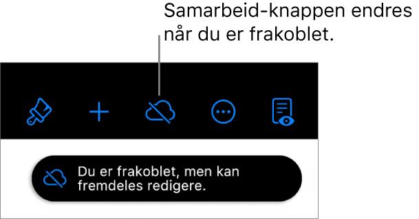 Knappene øverst på skjermen, med Samarbeid-knappen endret til en sky med en diagonal linje gjennom. Et varsel på skjermen sier «Du er frakoblet, men kan fremdeles redigere.»