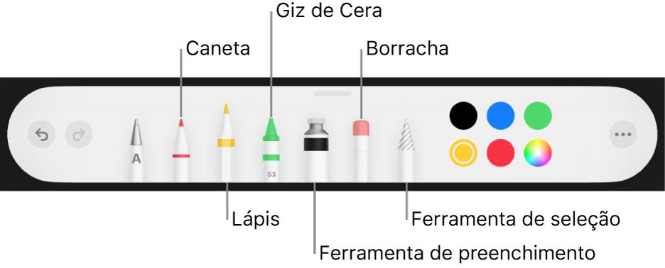 Barra de ferramentas de desenho com caneta, lápis, giz de cera, ferramenta de preenchimento, borracha, ferramenta de seleção e quadro de cores mostrando a cor atual.