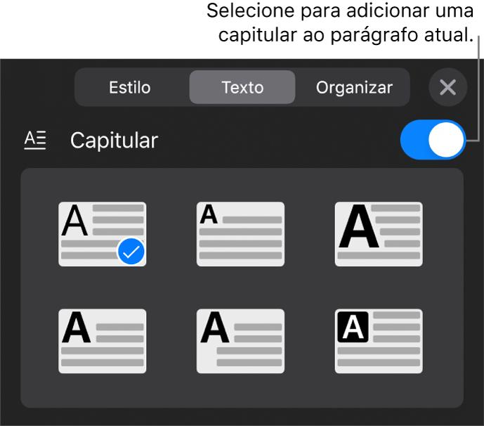 Controles Capitular localizados na parte inferior do menu Texto.
