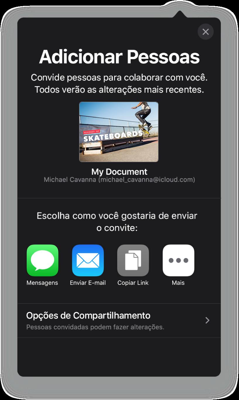 Tela Adicionar Pessoas mostrando uma imagem da apresentação que será compartilhada. Abaixo disso, botões das formas de envio do convite, incluindo Mail, Copiar Link e Mais. Na parte inferior, o botão Opções de Compartilhamento.