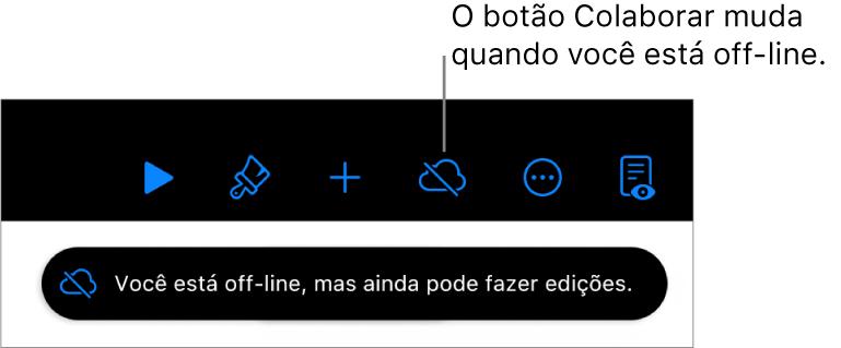 """Os botões na parte superior da tela, com o botão Colaborar alterado para uma nuvem atravessada por uma linha diagonal. Alerta na tela informando que """"Você está off-line, mas ainda pode fazer edições."""""""
