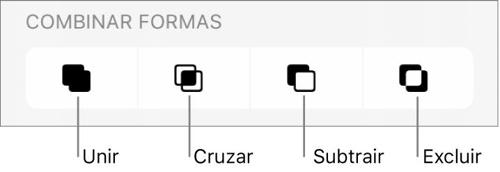 Botões Interseção, Subtrair e Excluir abaixo de Combinar Formas.