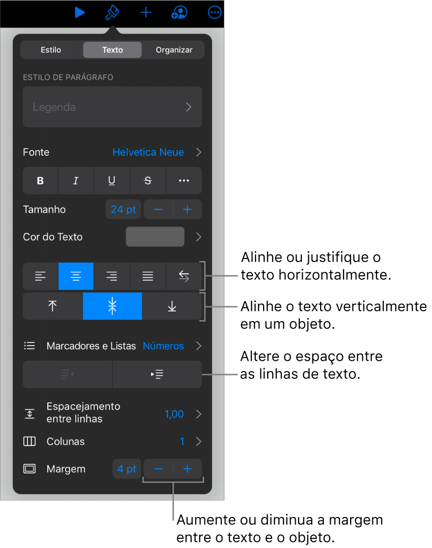 Painel Layout, com chamadas para os botões de alinhamento e espacejamento de texto.