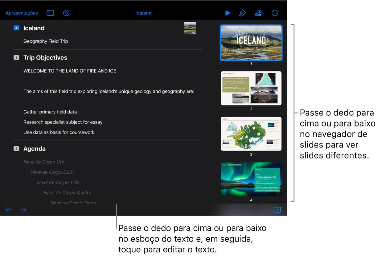 Visualização de esboço com esboço de texto do lado esquerdo da tela e navegador de slides vertical do lado direito.