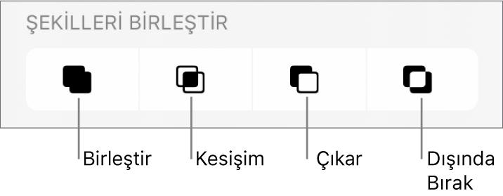 Şekilleri Birleştir'in altındaki Birleştir, Kesişim, Çıkar ve Hariç Tut düğmeleri.