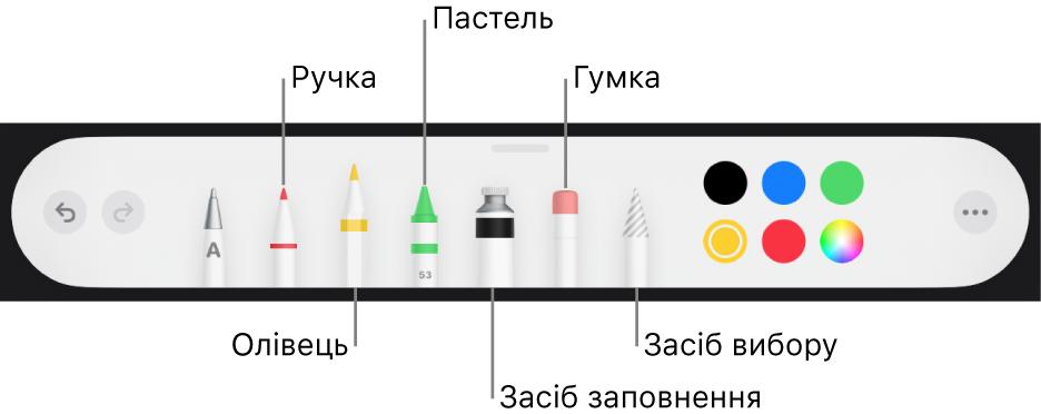 Панель малювання із пером, олівцем, пастеллю, інструментом заповнення, гумкою, інструментом вибору і джерелом кольору, яке відображає поточний колір.