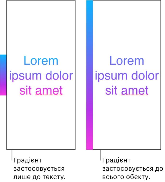 Порівняльні приклади. У першому прикладі показано текст із градієнтом, застосованим лише до тексту, тож увесь спектр кольору відображено в тексті. У другому прикладі показано текст із градієнтом, застосованим до всього об'єкта, тож у тексті відображено лише частину спектру.