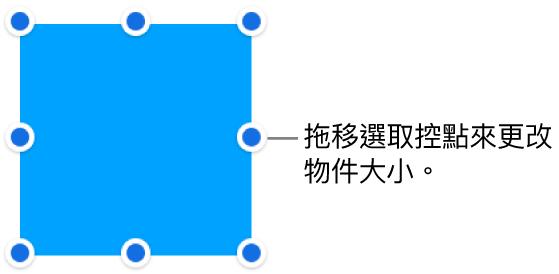 其邊線上帶有藍色圓點的物件,用來更改物件的大小。