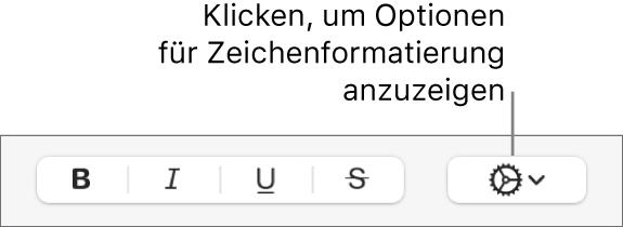 """Die Taste """"Erweiterte Optionen"""" neben den Tasten """"Fett"""", """"Kursiv"""", """"Unterstrichen"""" und """"Durchgestrichen""""."""