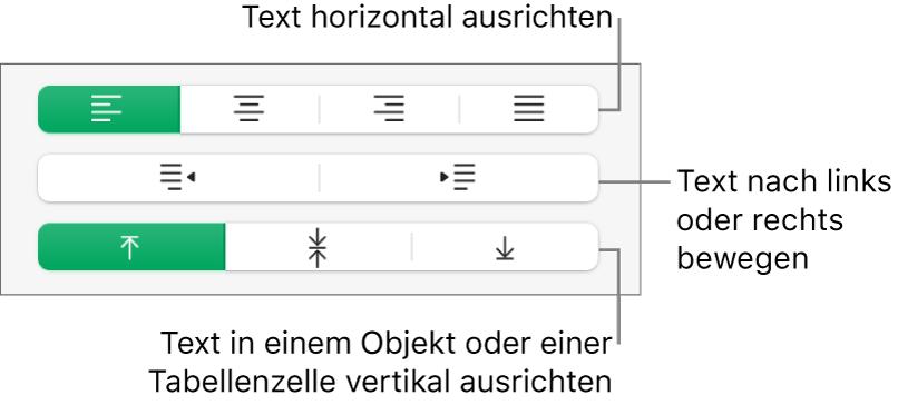 """Im Abschnitt """"Ausrichtung"""" befinden sich Tasten, mit denen der Text horizontal ausgerichtet, nach links oder rechts bewegt oder vertikal ausgerichtet werden kann."""