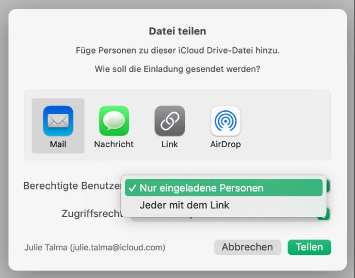 """Das Dialogfenster für die Zusammenarbeit mit dem geöffneten Einblendmenü """"Berechtigte Benutzer"""" und der ausgewählten Option """"Nur eingeladene Personen""""."""