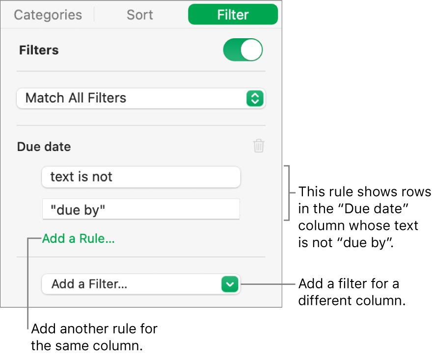 Controls for creating filtering rules.