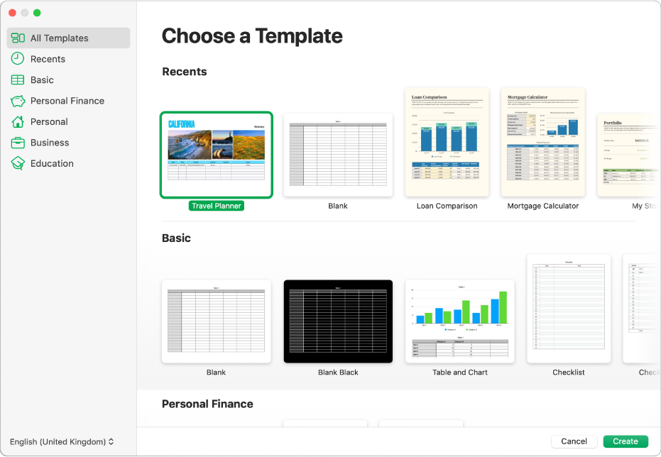 The template chooser. A sidebar on the left lists template categories you can click to filter options. On the right are thumbnails of predesigned templates arranged in rows by category, starting with Recents at the top and followed by Basic and Personal Finance. The Language and Region pop-up menu is in the bottom-left corner and the Cancel and Create buttons are in the bottom-right corner.