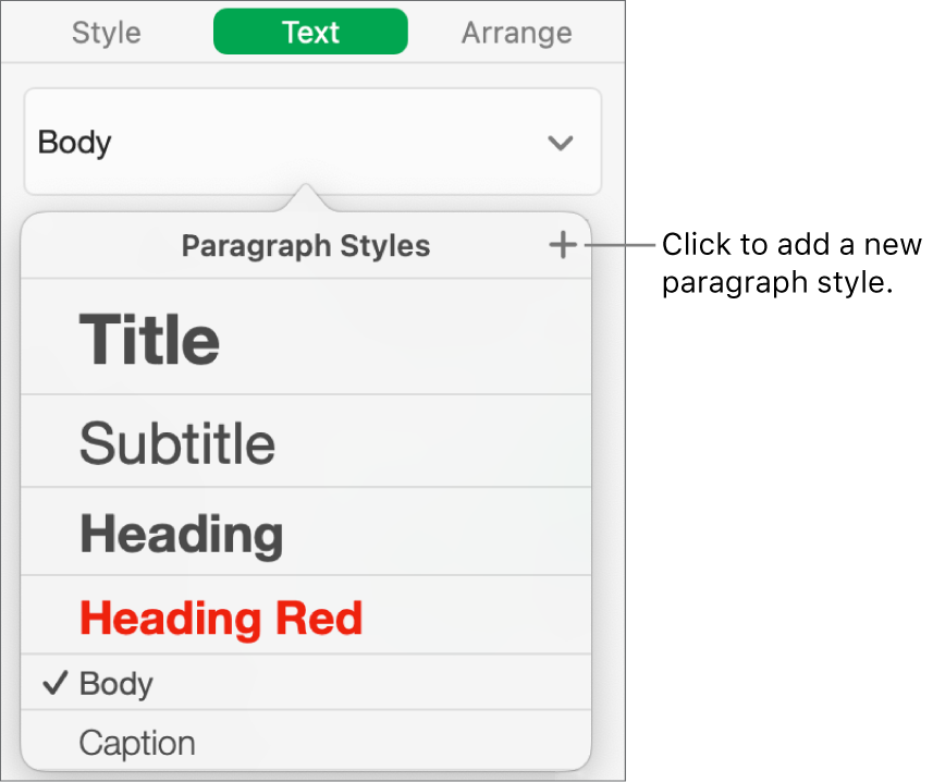 The dialog for creating a new paragraph style.