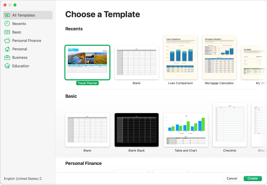 The template chooser. A sidebar on the left lists template categories you can click to filter options. On the right are thumbnails of predesigned templates arranged in rows by category, starting with Recents at the top and followed by Basic and Personal Finance. The Language and Region pop-up menu is in the bottom-left corner and Cancel and Create buttons are in the bottom-right corner.