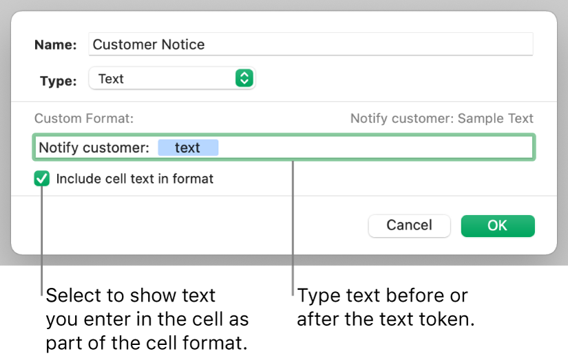 Custom text cell format.