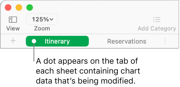 A sheet tab with a dot indicating that a table in this sheet has been referred to in the chart whose data you're currently editing.