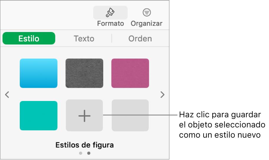 """La pestaña Estilo de la barra lateral Formato con cuatro estilos de imagen, el botón """"Crear estilo"""" y un marcador de posición de estilo vacío."""