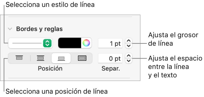 Controles para cambiar el estilo de línea, grosor, posición y color.