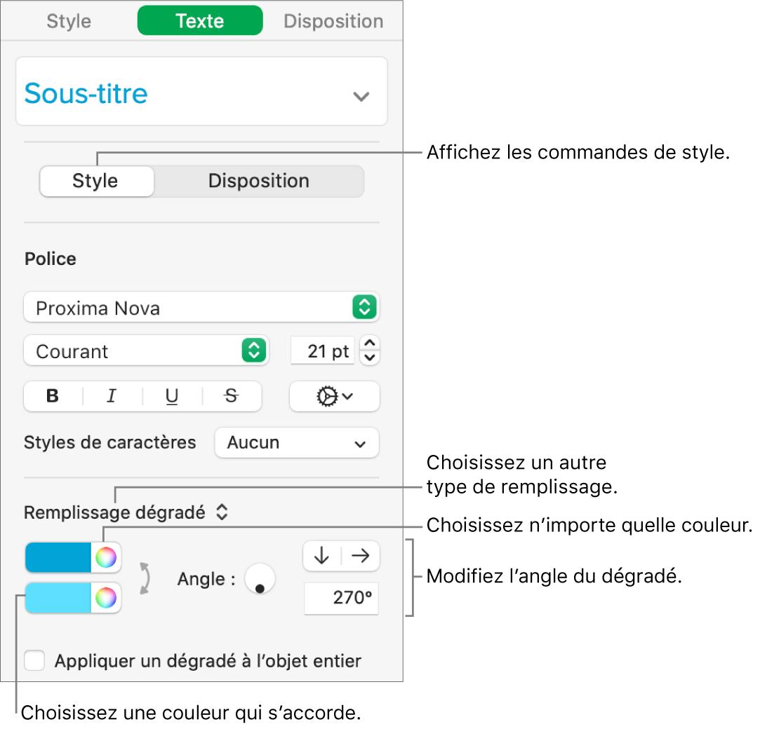 Barre latérale de texte, indiquant comment modifier la couleur du texte.