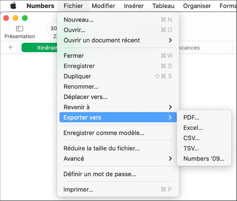 Menu Fichier ouvert avec l'option Exportation vers sélectionnée, le sous-menu correspondant affichant les options d'exportation aux formats PDF, Excel, CSV et Numbers'09.