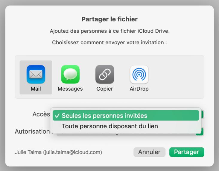 Section Options de partage de la zone de dialogue de collaboration avec le menu local Accès ouvert et l'option «Seules les personnes que vous invitez» sélectionnée.