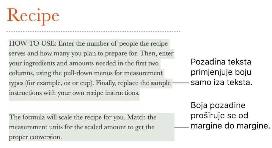 Jedan paragraf s bojom samo iza teksta i drugi paragraf s bojom iza sebe koja se proteže od margine do margine u bloku.
