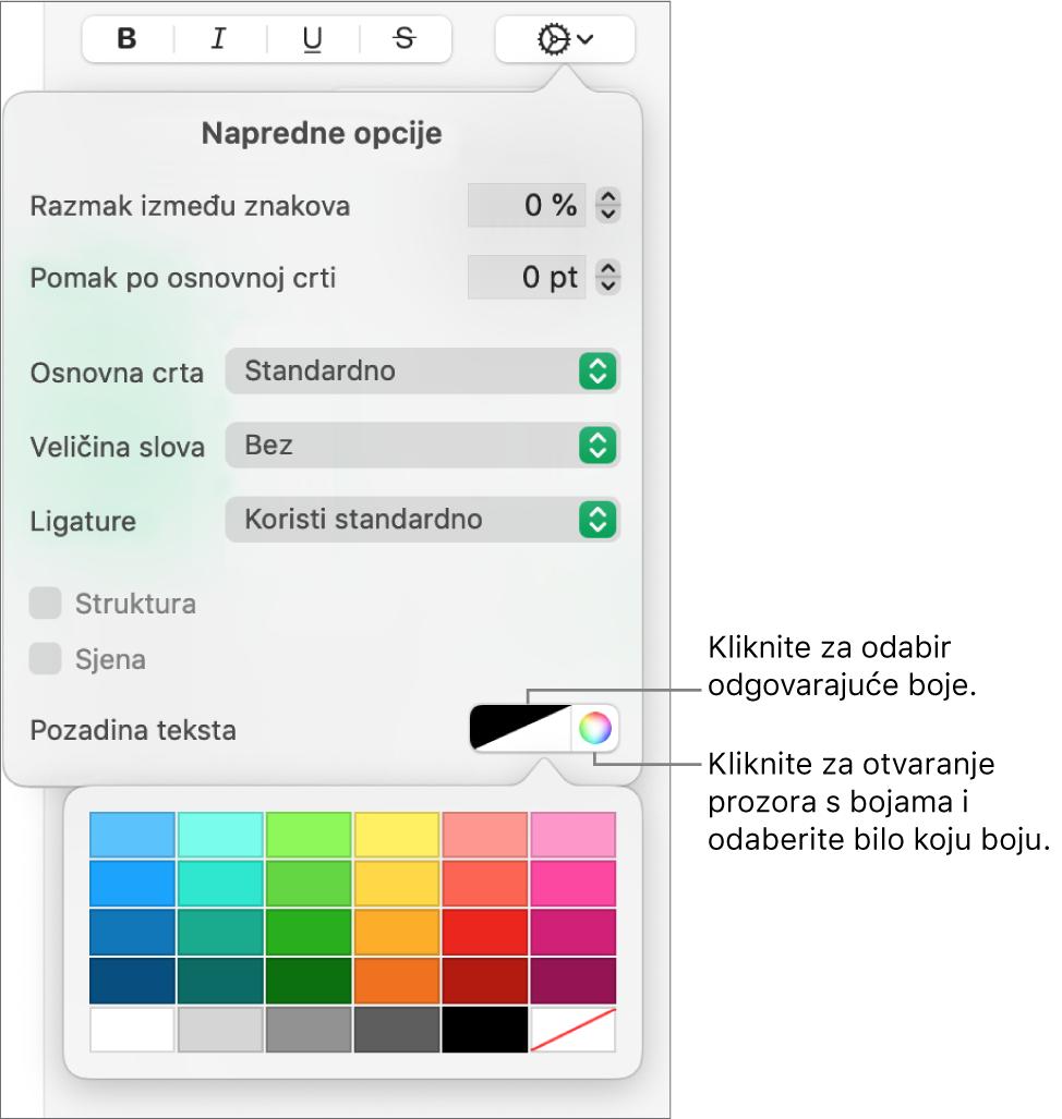 Kontrole za odabir boje ispune znakova.