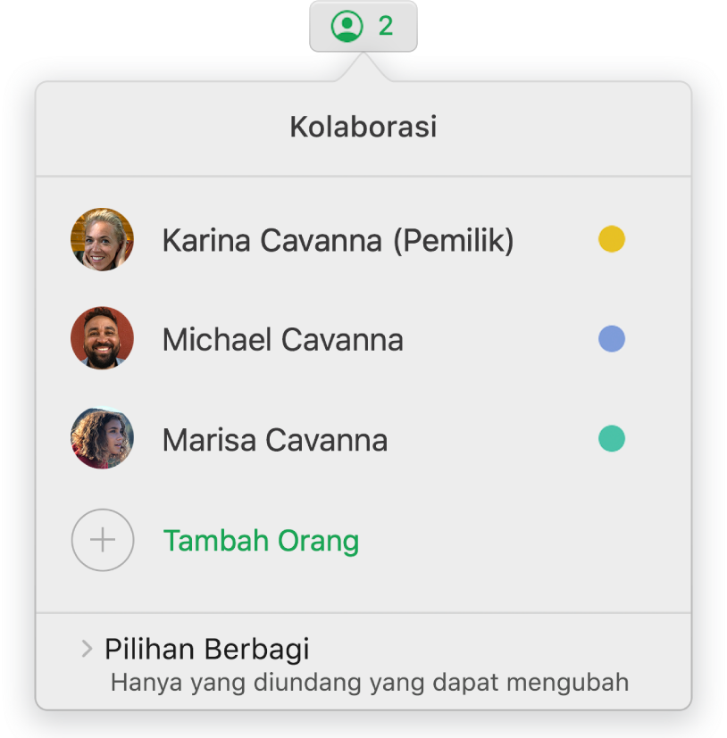 Menu Kolaborasi menampilkan nama orang yang berkolaborasi di spreadsheet. Pilihan berbagi terdapat di bawah namanya.