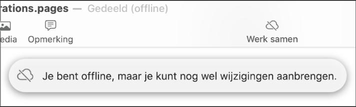 De volgende melding verschijnt op het scherm: 'Je bent offline, maar je kunt nog wel wijzigingen aanbrengen.'