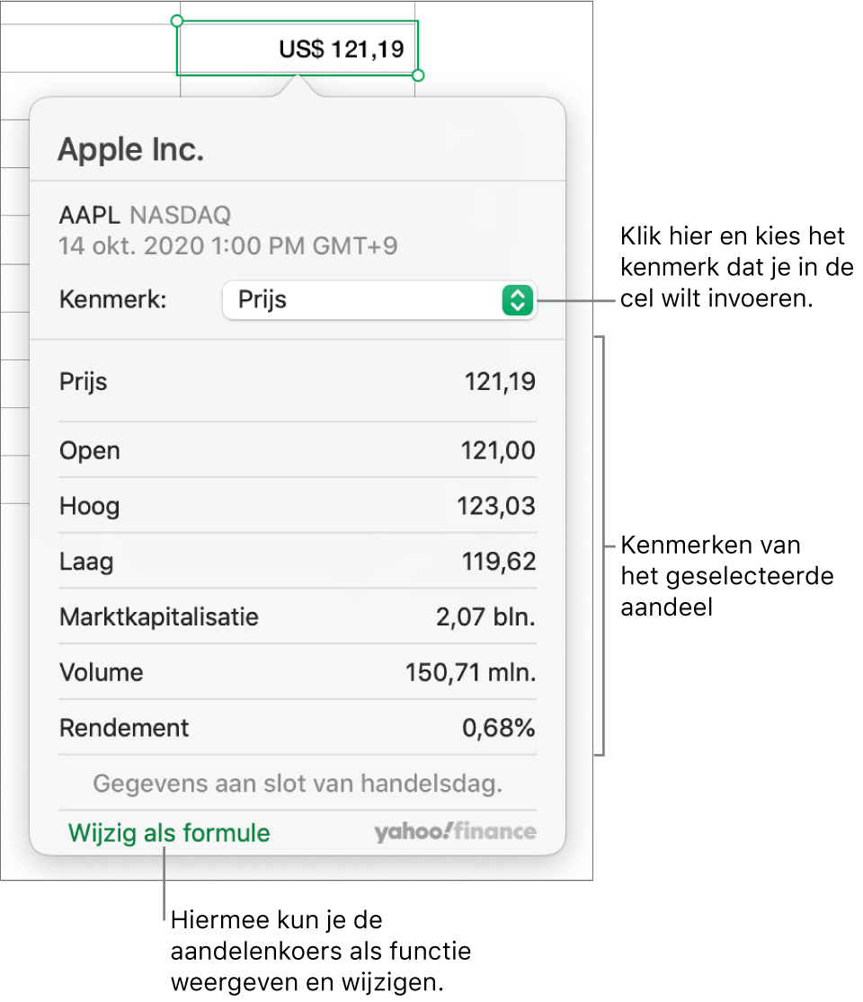 Het dialoogvenster voor het invoeren van aandelenkenmerken, met Apple als het geselecteerde aandeel.