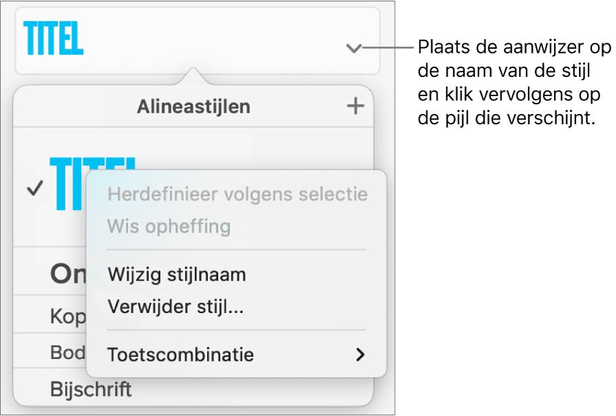 Het menu 'Alineastijlen' met het contextuele menu geopend.