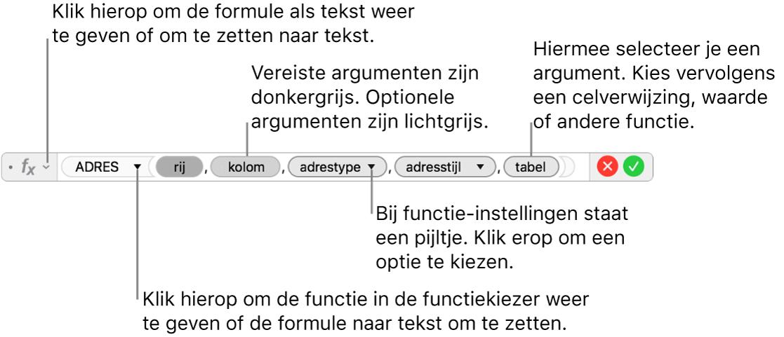 De formule-editor met de ADRES-functie en de bijbehorende argumenttokens.