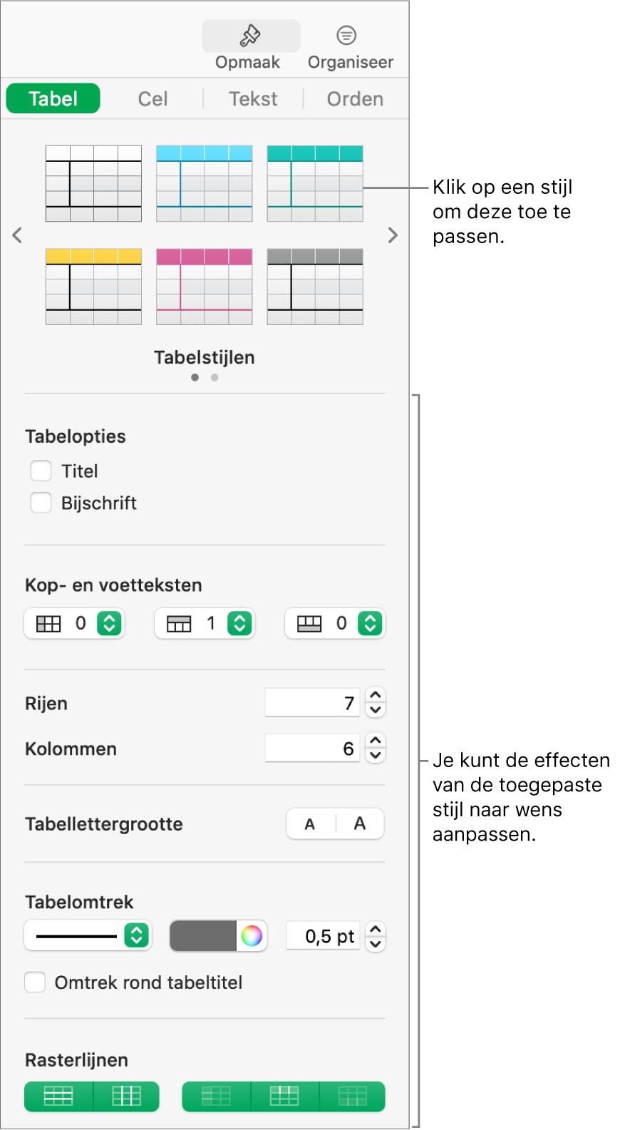 De navigatiekolom 'Opmaak' met tabelstijlen en opmaakopties.