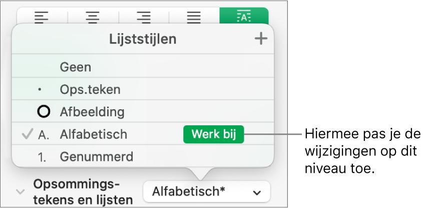 Het venstermenu 'Lijststijlen' met een knop 'Werk bij' naast de naam van de nieuwe stijl.