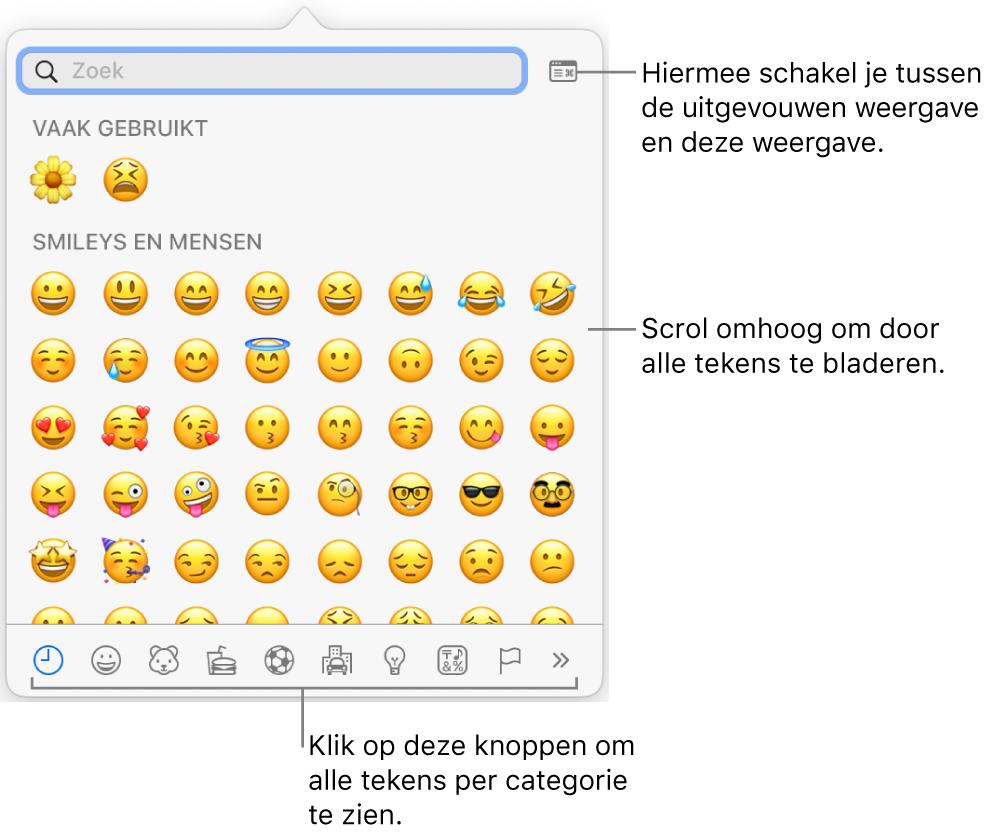 Het venstermenu 'Speciale tekens' met emoticons, knoppen voor verschillende soorten symbolen (onderin) en uitleg bij de knop voor het volledige venster met tekens.
