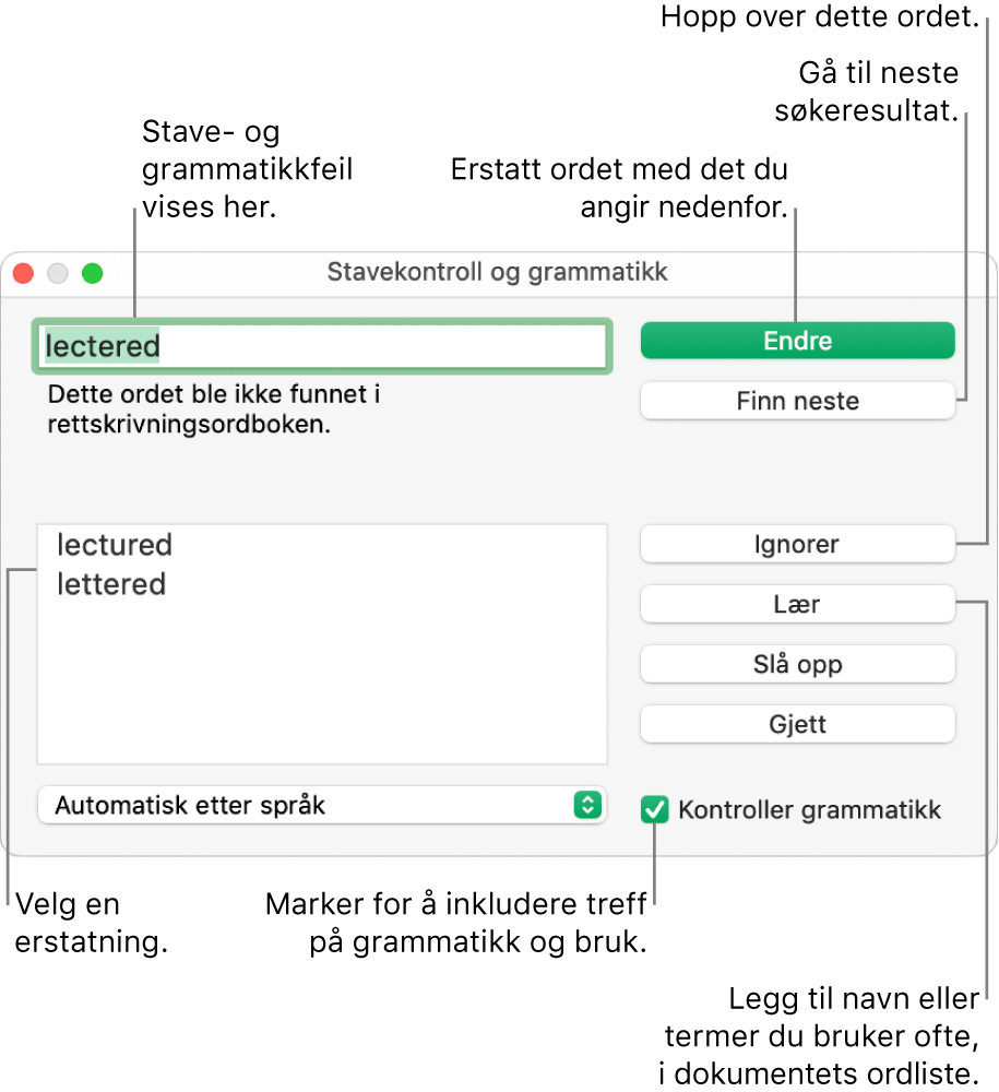 Stavekontroll og grammatikk-vinduet.