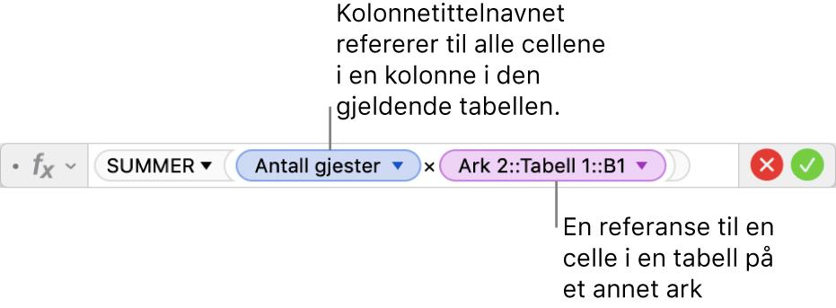 Formelredigeringen, som viser en tabell som refererer til en kolonne i én tabell og en celle i en annen tabell.