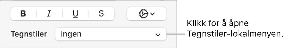 Tegnstiler-lokalmenyen under kontroller for å endre tekststil og farge.
