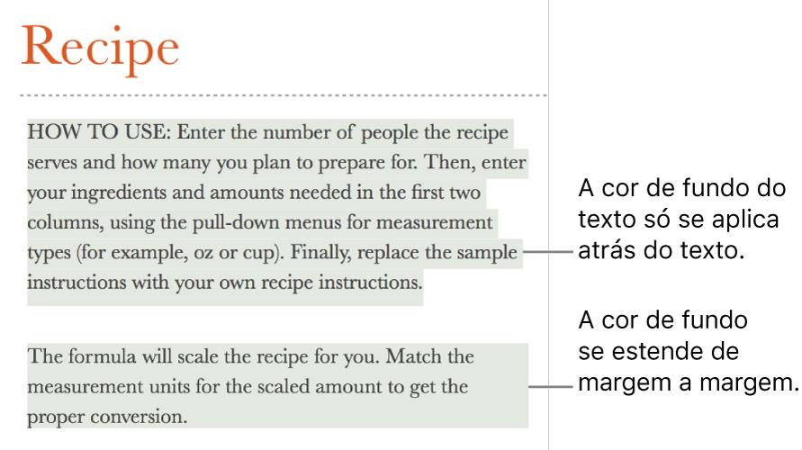 Um parágrafo com cor apenas atrás do texto e um segundo parágrafo com cor por atrás que se estende de uma margem a outra em um bloco.