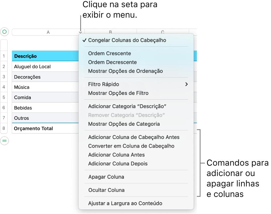 Menu da coluna de uma tabela com comandos para adicionar ou apagar linhas e colunas.