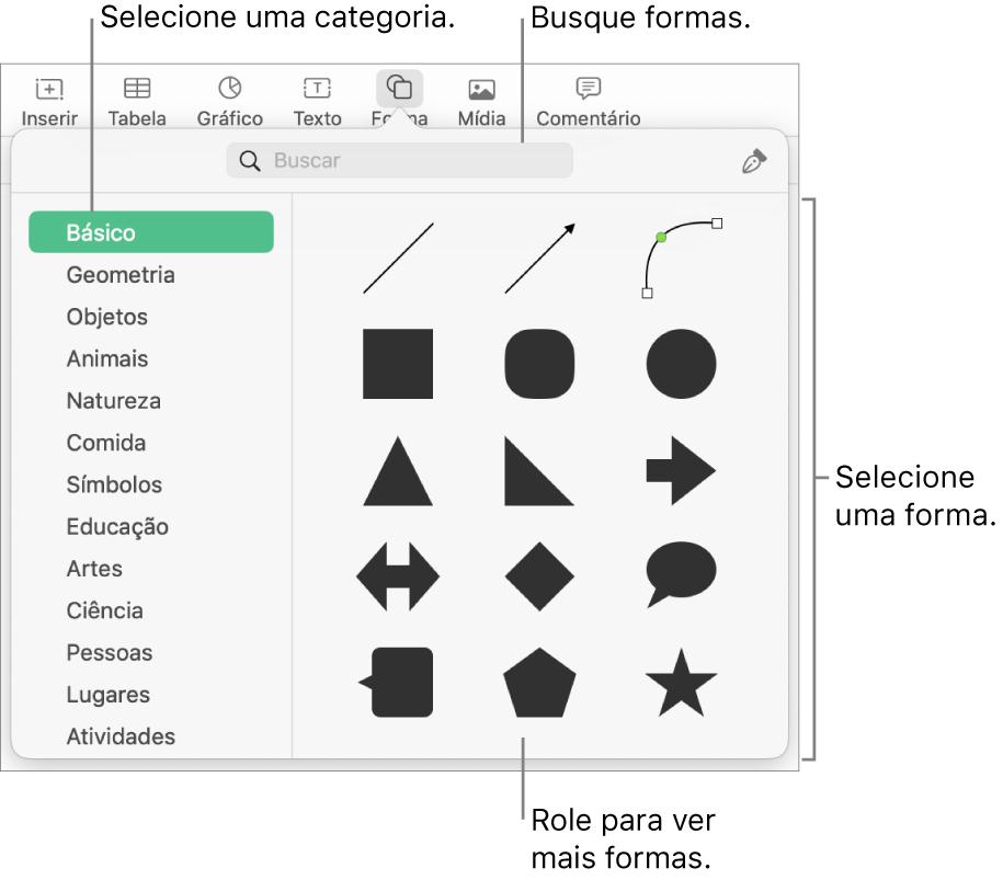 A biblioteca de formas, com categorias listadas à esquerda e formas exibidas à direita. Você pode utilizar o campo de busca na parte superior para encontrar formas e rolar para ver mais.