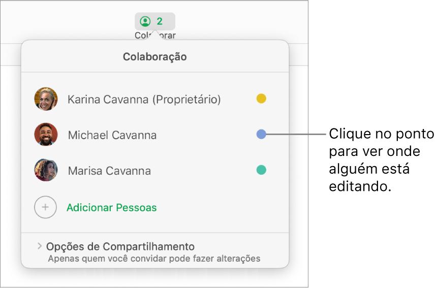 Lista de participantes com três participantes e um ponto colorido diferente à direita de cada nome.