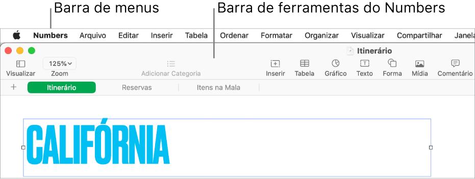 Barra de menus na parte superior da tela com os menus Apple, Numbers, Arquivo, Editar, Inserir, Formatar, Organizar, Visualizar, Compartilhar, Janela e Ajuda. Abaixo da barra de menus está uma planilha do Numbers aberta com botões da barra de ferramentas ao longo da parte superior: Visualizar, Zoom, Adicionar Categoria, Inserir, Tabela, Gráfico, Texto, Forma, Mídia e Comentário.