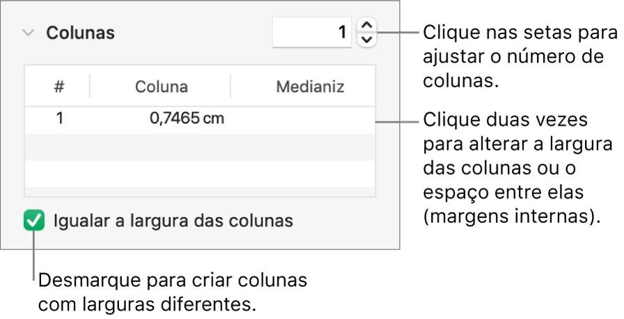 Os controles na seção colunas para alterar o número de colunas e a largura de cada coluna.