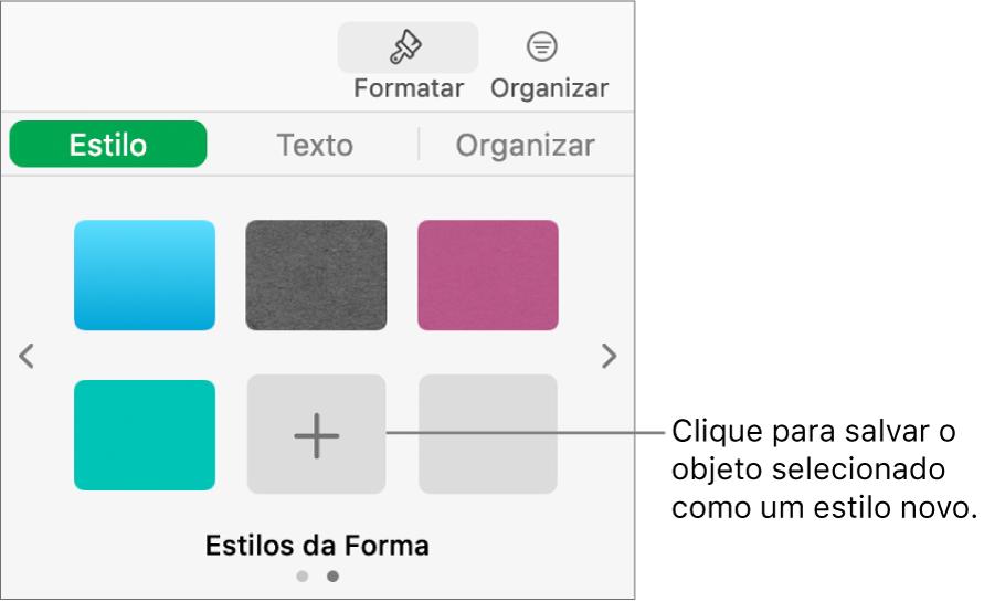 Aba Estilo da barra lateral Formatar com quatro estilos de imagens, um botão Criar Estilo e um marcador de posição de estilo vazio.